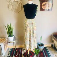 90s women's vintage floral rayon pastel midi skirt grunge boho prairie M/L