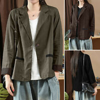 ZANZEA Womens Casual Loose Cotton Linen Coat Jacket Cardigan Suit Blazer Outwear