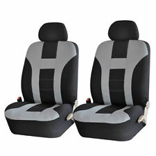 NEW 4PC GRAY & BLACK DBL STITCHED FRONT LOW BACK SEAT COVERS SET FOR TRUCKS 1029