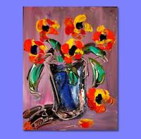 Original Oil PAINTING FLOWERS  Abstract Modern  ON CANVAS   IMPRESSIONIST RGWE