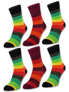 6 oder 12 Paar Damensocken Bunte Ringel Damen Socken Baumwolle