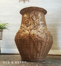 Nice Vintage boho wicker Alibaba Laundry Linen Basket Storage with lid 70s
