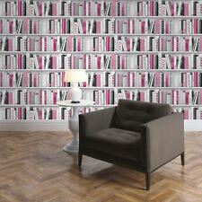 PINK FASHION LIBRARY BOOKCASE WALLPAPER - MURIVA 139501 GLITTER BOOKS NEW