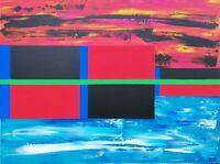 Tableau abstrait contemporain 60 x 80 cm. Original signé A.G.