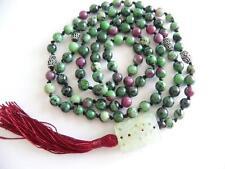 Hand knotted Ruby Zoisite Mala 108 Prayer Beads & Carved Jade Jadeite Pendant