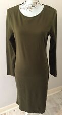 Brand New Primark Atmosphere Long Sleeved Khaki Green Dress Size 16 / Eur 44