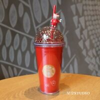 New Starbucks 2020 China Red Cute Bear Topper Love Coffee 16oz Cold Cup Tumbler