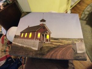 """RR#   LED Lighted Beautiful Country Church Scene on Canvas Wall Art 16"""" X 20"""""""