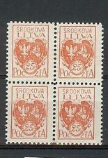 Russia Central Lithuania Litwa 1920 Sc# 1 Arms block 4 MNH
