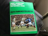 CELTIC v MANCHESTER UTD 1976 JIMMY JOHNSTONE BOBBY LENNOX TESTIMONIAL PROGRAMME