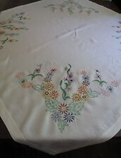 Vintage Hand Embroidered Tablecloth 115 X 122cm approx