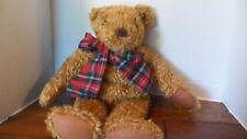 "Avon 18"" Plush Teddy Bear Red Plaid Ribbon"