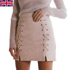 Vogue Women Ladies High Waisted Pencil Skirt Bodycon Leather Mini Skirt UK STOCK