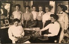 Real Photo RPPC ~ Servants At School ~ 8 Women Learn To Play Autoharp ~ Music