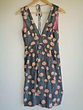 COREY LYNN CALTER Gray Pink Floral Silk Sleeveless Shift Dress - US Size 4
