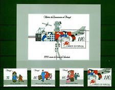[Portugal 1991 - History of Communications in Portugal] Souv. Sheet and set MNH