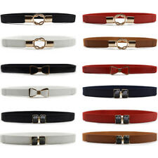 Women Lady Slim Bow Ring Buckle Faux Leather Belt Dress Stretchy Waistband NEW