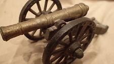 """OLDER PENN CRAFT CAST IRON CANNON CIVIL WAR Marked Brass Barrel 6.5"""" Long"""