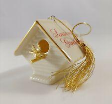 "New ListingLenox Garden Birdhouse ""Seasons Greetings"" Golden Bird Christmas Ornament"
