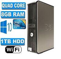 "Fast Dell Desktop Pc Tower Quad Core 1 TB HDD 8GB Ddr2 19"" Monitor Wi-Fi Win 10"