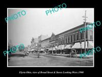 OLD LARGE HISTORIC PHOTO OF ELYRIA OHIO, VIEW OF BROAD STREET & STORES c1900