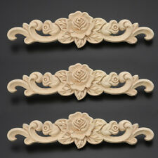 1Pc Unpainted Rose Flower Wooden Carved Long Onlay Applique Furniture DIY Decor