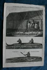 From the Voyages of Captain Cook Oonalashka original copper print published 1779