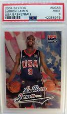 2004 04 Skybox USA BASKETBALL LeBron James RC ROOKIE #USAB, Graded PSA 9 Mint