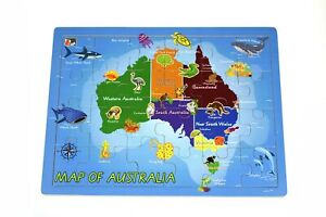 Wooden AUSTRALIA MAP Jigsaw Puzzle State Animal Capital City Educational Toy KD