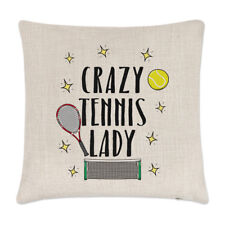 Crazy Tennis Lady Linen Cushion Cover Pillow - Funny Sport
