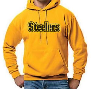 Pittsburg Steelers Pullover Yellow Gold Hoodie Hooded Pockets Sweatshirt