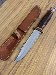 Vintage Kabar Carbon Chrome Fixed Blade Knife Leather Handle With Sheath