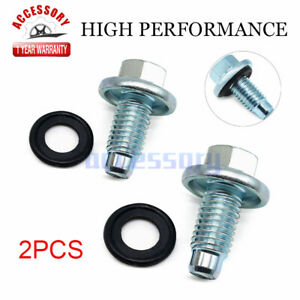 2X Engine Oil Pan Drain Plug W/O-Ring For GM Chevrolet Buick Cadillac 11562588