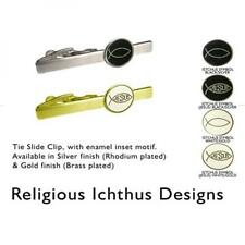 Silver Religious Icthus Design Tie Clip Holy Religions Theme Smart Suit Gift New