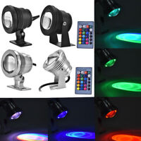 12V RGB Waterproof LED Underwater Spotlight Garden Pool Pond Aquarium Lamp 5/10W