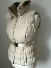 KAREN MILLEN Cream Gilet Faux Fur Collar UK 12