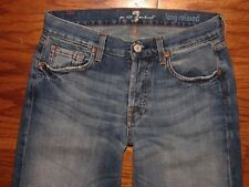 7 FOR ALL MANKIND LONG RELAXED Button Fly Jeans Sz 29 Mens W 29 x L 36