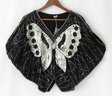 Vtg Sequin Top Cropped 100% Silk Butterfly Black Silver Size L