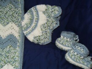 "Baby Afghan blanket,hat, booties, Multi, green,blue,white 35"" x 45"", ripples"
