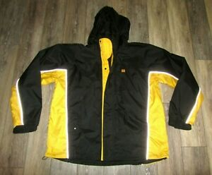 Caterpillar CAT Logo iTechnology Nylon Windbreaker Jacket Black Yellow Mens XL