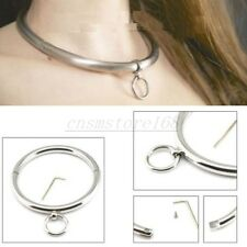 Steel Slave Rolled neck collar Restraints Locking Choker Necklace Ring