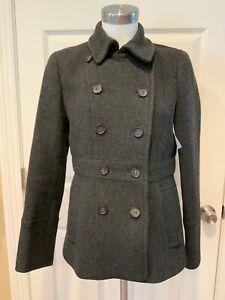J. Crew Dark Gray Stadium Cloth Nello Gori Wool Double Breasted Coat, Size 6
