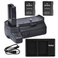 Battery Grip for Nikon D3400 + 2x EN-EL14a Battery + USB Dual Charger