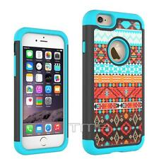 iPhone 6 6S Aztec Tribal Free Spirit Hard Soft Hybrid Case Cover - Ocean Blue