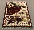 Hand Knotted Afghan War Tank A K 47 Balouch Wall Hanging Wool Area Rug 3 x 2 Ft