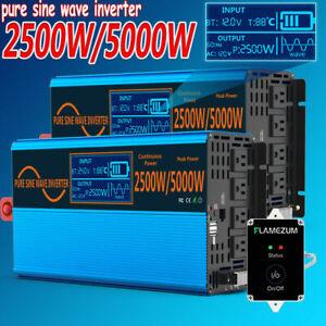 2500W 5000W Power Inverter Pure Sine Wave DC 12/24V AC 110V 120V LCD Camping Car
