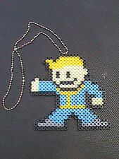 """Fallout 4 """"unofficial"""" PipBoy Perler Bead figure on 18"""" Ball Chain"""