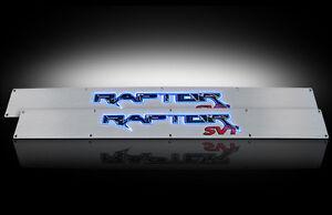 2009-2014 F150 SVT Raptor Brushed Billet Door Sill Plates - Blue Illumination