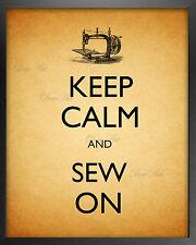 "Keep calm and sew on Sewing machine wall art print 8x10"" home room decor"
