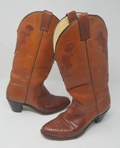 Vintage Redwood JUSTIN L 4429 Tall Lizard Boots Womens 9 B Snakeskin Alligator